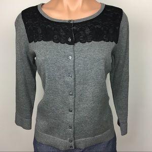 🛍 Ann Taylor Loft Cardigan Grey w Black Lace S